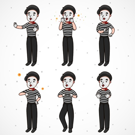 pantomime: Mime  set   wall, AaaAA, yahooo, time, cowboy or dancer, stop Illustration