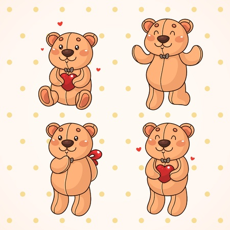 Cute teddy bear  Set  Vector