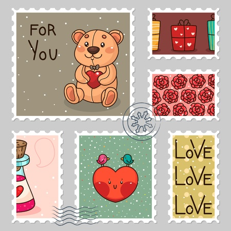 Stamp collection  Valentines day Vector