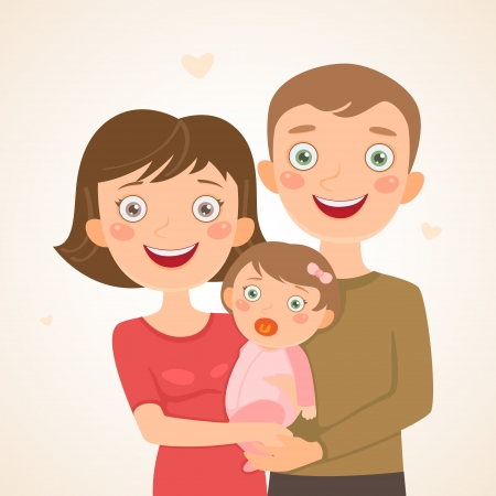 New family with girl  Happy family Illustration