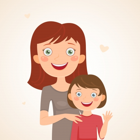 Mother and daughter  Happy family Vector