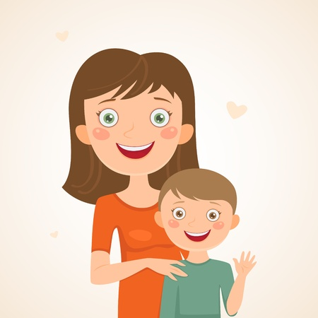 Mother and son  Happy family Illustration