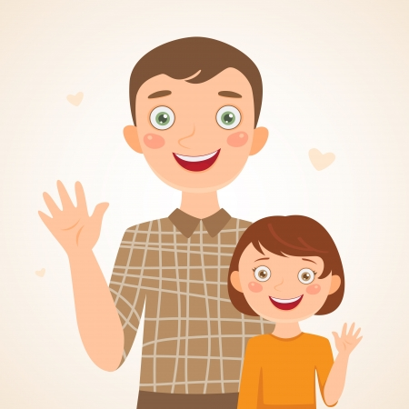 parental love: Father and daughter  Happy family Illustration