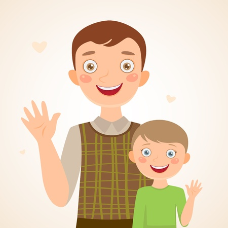 parental love: Father and son  Happy family Illustration