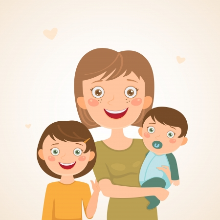 Mother with children  Happy family Illustration