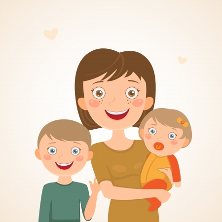 Mother with children  Happy family