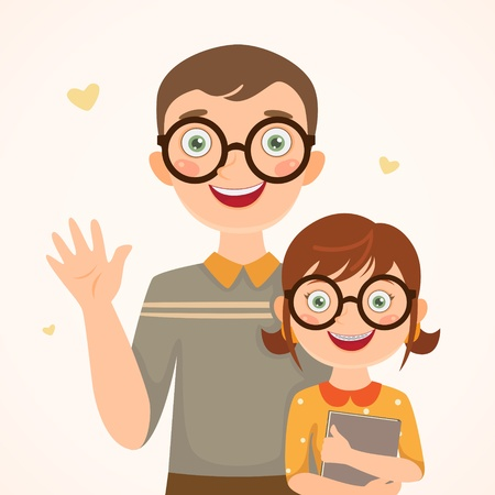 ser padres: Clever padre e hija Familia feliz