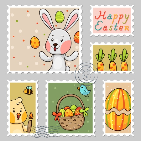 Easter stamps, set Stock Vector - 18545909