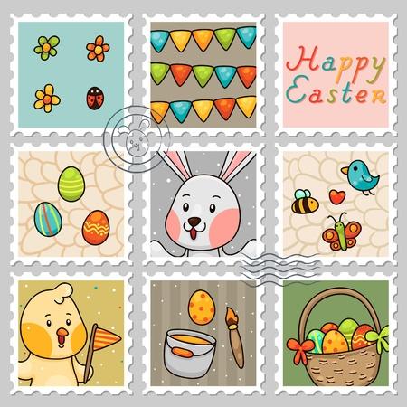 Easter stamps, set Illustration