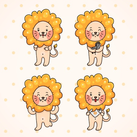 panthera: Cute lion, set Illustration