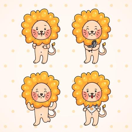Cute lion, set Illustration