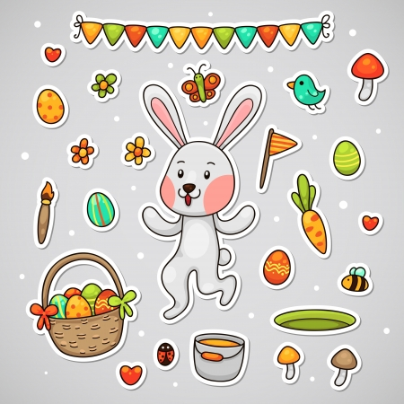 Sticker with the Easter bunny, set  Vector