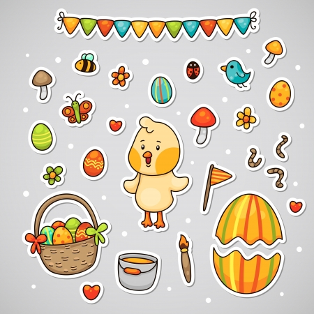 Sticker with the Easter chick, set  Illustration