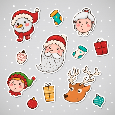 Christmas and new year sticky face Stock Vector - 18545899