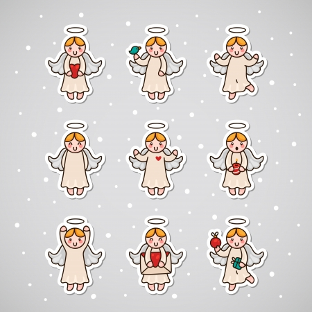 Sticker with Angel, set Illustration