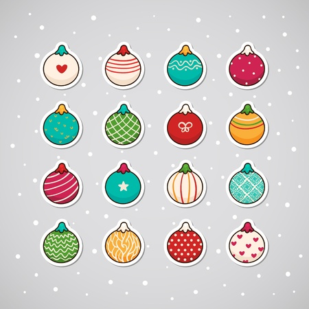 Sticker with Christmas garlands Illustration