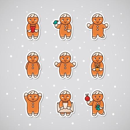 Sticker with Gingerbread, set Illustration