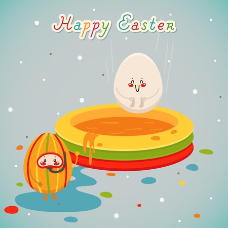 Happy holidays with Easter eggs. Greeting card