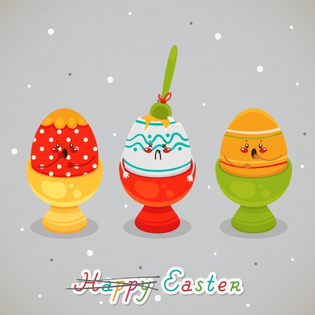 Easter drama. Greeting card Illustration