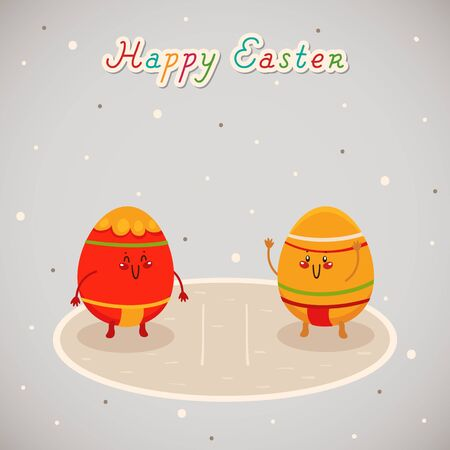 Easter sumo. Greeting card Illustration
