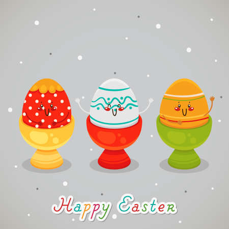 Three happy Easter eggs. Greeting card