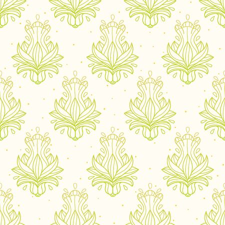 Abstract ornate pattern green and yellow