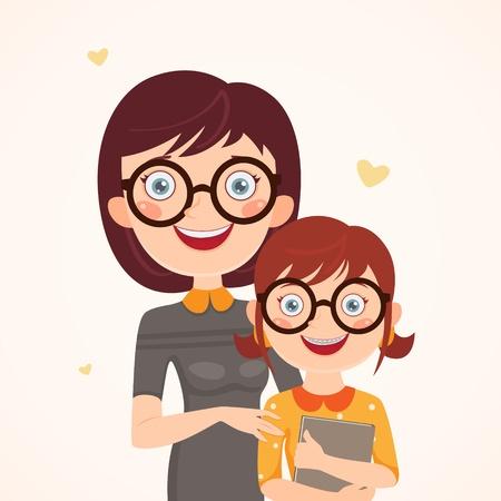 Clever Mutter und Tochter Glückliche Familie