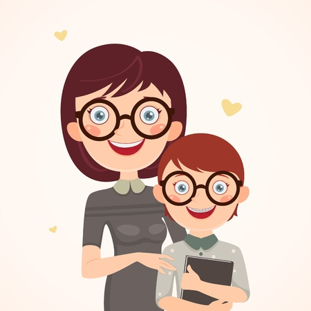 Clever mother and son  Happy family Vector