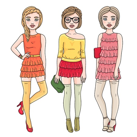 Fashion romantic girls  Hand drawn style  Vector