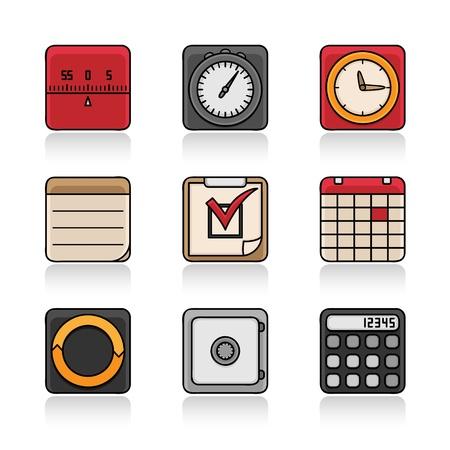 Organizer icon  Retro set  timer, stopwatch, alarm clock, notes, task, calendar, synchronization, code memo, calculator  Illustration