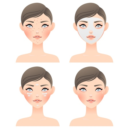 woman face cream: Before and after  problem skin, mask, cream, beautiful face Illustration