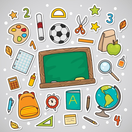 Stickers with school supplies, set  Illustration