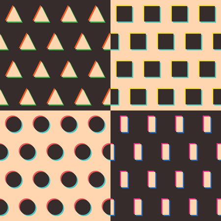 Set of geometric patterns  triangle, rectangle, circle, square