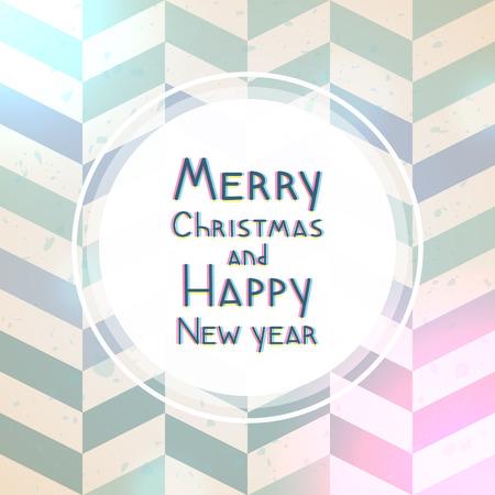 Christmas and New year geometric greeting card, herringbone pattern
