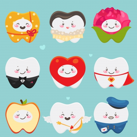 Teeth  gift, lady, flower, gentleman, heart, Super Love, apple, amour, postman Vector