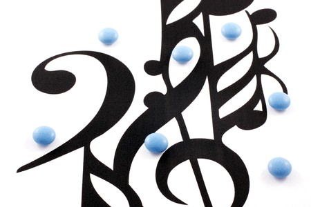 music notation: Music notation elements and pills on white background Stock Photo