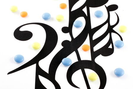 Music notation elements and pills on white background Stock Photo - 7844073