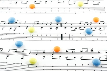 Music notation elements and pills on white background Stock Photo - 7844080