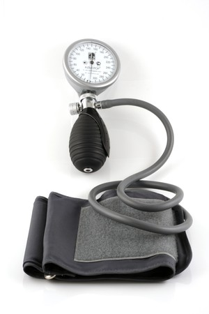 systolic: Sphygmomanometer on white background