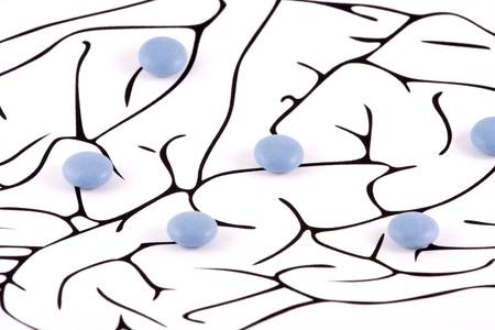 Healthy Brain Pills on white background photo