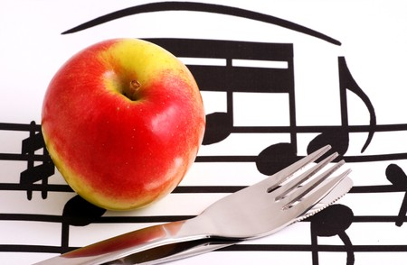 Apple diet - knife and fork Stock Photo - 7934394