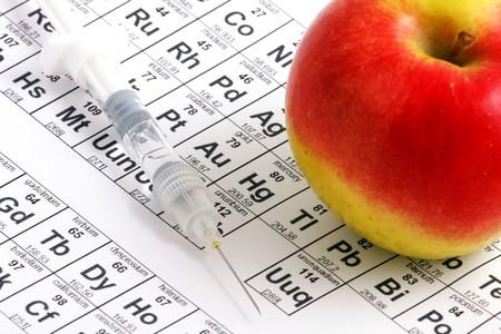 Macro of apple lying on periodic table photo