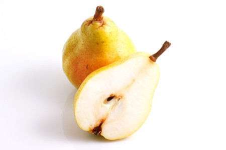Two pears over white background photo