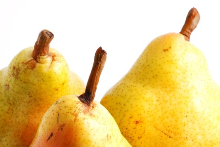 Three pears over white background photo