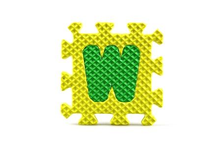 Alphabet puzzle pieces on white background Stock Photo - 8516571