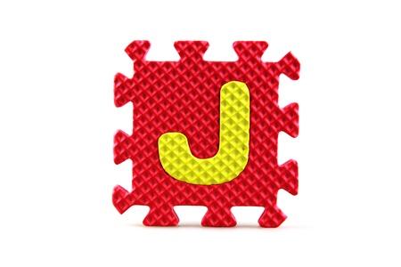 Alphabet puzzle pieces on white background Stock Photo - 8516546