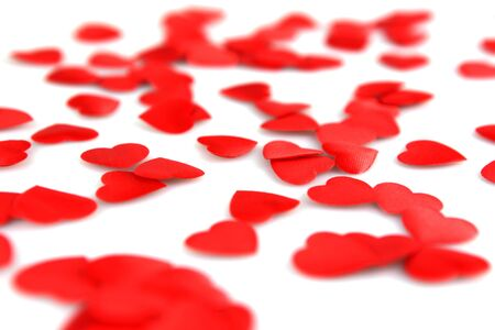 Red hearts confetti on white background Stock Photo - 8543110