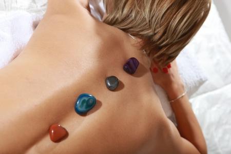 spa salon massage hot mineral stone treatment  photo