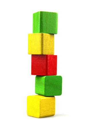 Wooden building blocks on white background Stock Photo - 8939979