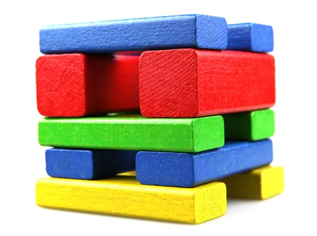 Wooden building blocks on white background Stock Photo - 9048781
